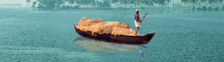 Boat transporting coir bales
