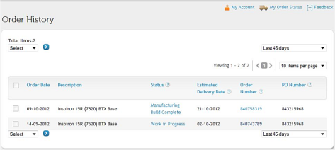 Order status screenshot October 15, 2012, showing two orders, old and new.