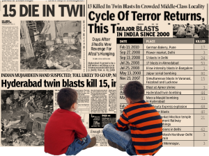 Composite image of two boys watching collage of news headlines about bomb blasts