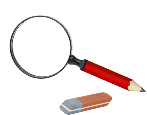 Magnifying glass with pencil handle and eraser