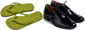 Composite image of rubber slippers and formal shoes