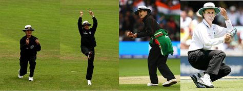 Composite image of umpire Billy making funny gestures