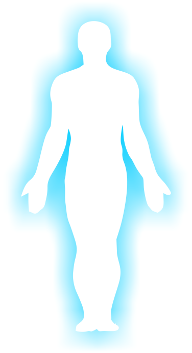 Outline of human body with a blue glow
