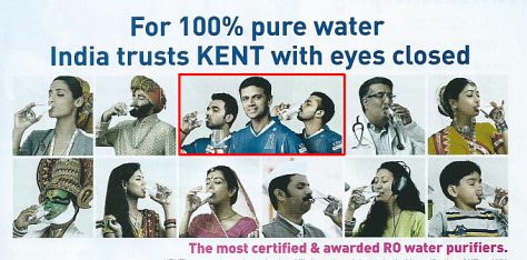 Ad for water purifiers with images of members of team caught in cricket spot-fixing scam