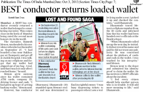 News clipping about honest Mumbai bus conductor returning loaded wallet
