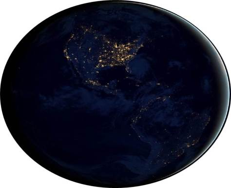 NASA image of earth at night, showing spots of light