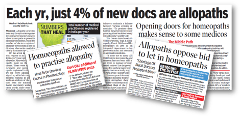 Press clippings about government decision to allow homeopaths to prescribe allopathy medicines.