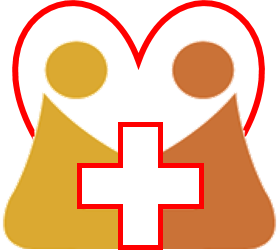 Graphic showing doctor and patient enclosed in a heart with a red cross between them.