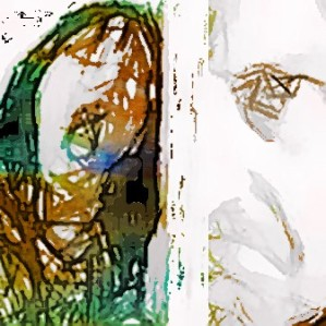 Abstract images of faces--woman in agony and  angry man